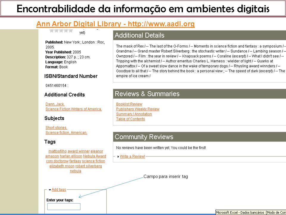 Encontrabilidade da informação em ambientes digitais 21 de março de 201 Ann Arbor Digital Library - http://www.aadl.org Campo para inserir tag
