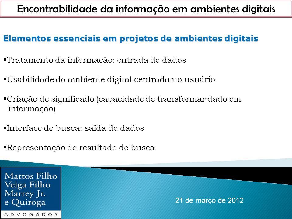 Encontrabilidade da informação em ambientes digitais 21 de março de 2012 Elementos essenciais em projetos de ambientes digitais Tratamento da informaç