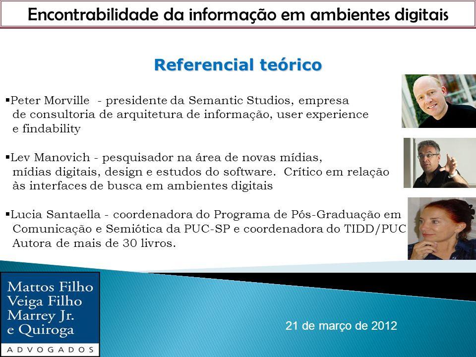 Encontrabilidade da informação em ambientes digitais 21 de março de 2012 Referencial teórico Peter Morville - presidente da Semantic Studios, empresa