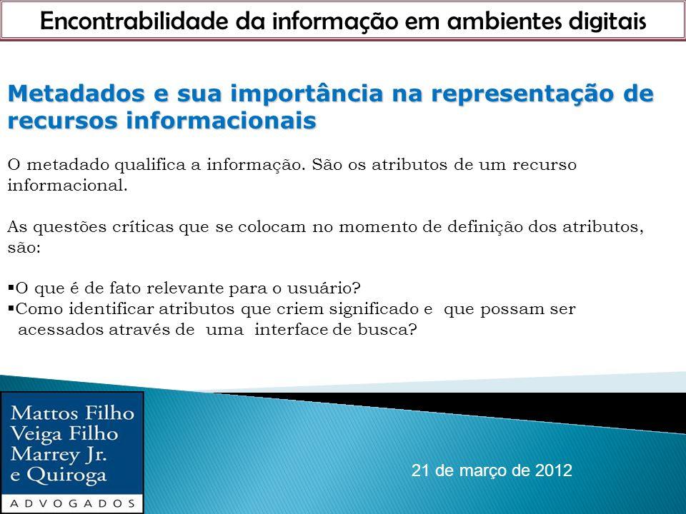 Encontrabilidade da informação em ambientes digitais 21 de março de 2012 Metadados e sua importância na representação de recursos informacionais Metad