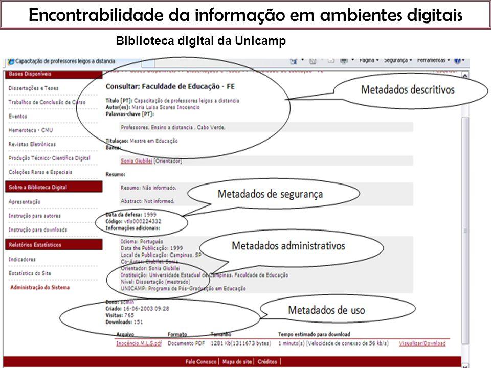 Encontrabilidade da informação em ambientes digitais 21 de março de 201 Biblioteca digital da Unicamp