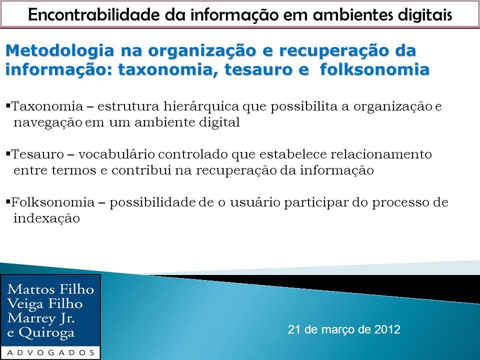 Encontrabilidade da informação em ambientes digitais 21 de março de 2012 Metodologia na organização e recuperação da informação: taxonomia, tesauro e