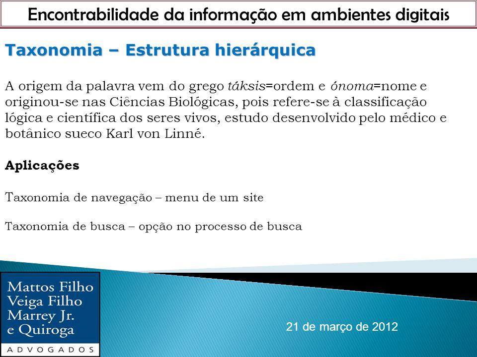 Encontrabilidade da informação em ambientes digitais 21 de março de 2012 Taxonomia – Estrutura hierárquica A origem da palavra vem do grego táksis =or