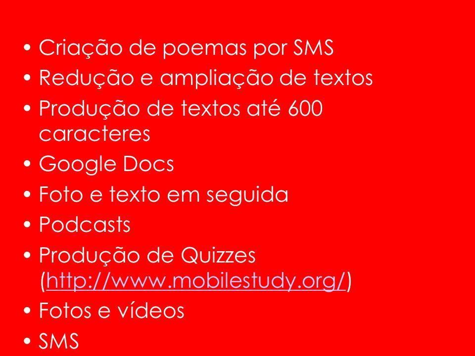 Criação de poemas por SMS Redução e ampliação de textos Produção de textos até 600 caracteres Google Docs Foto e texto em seguida Podcasts Produção de