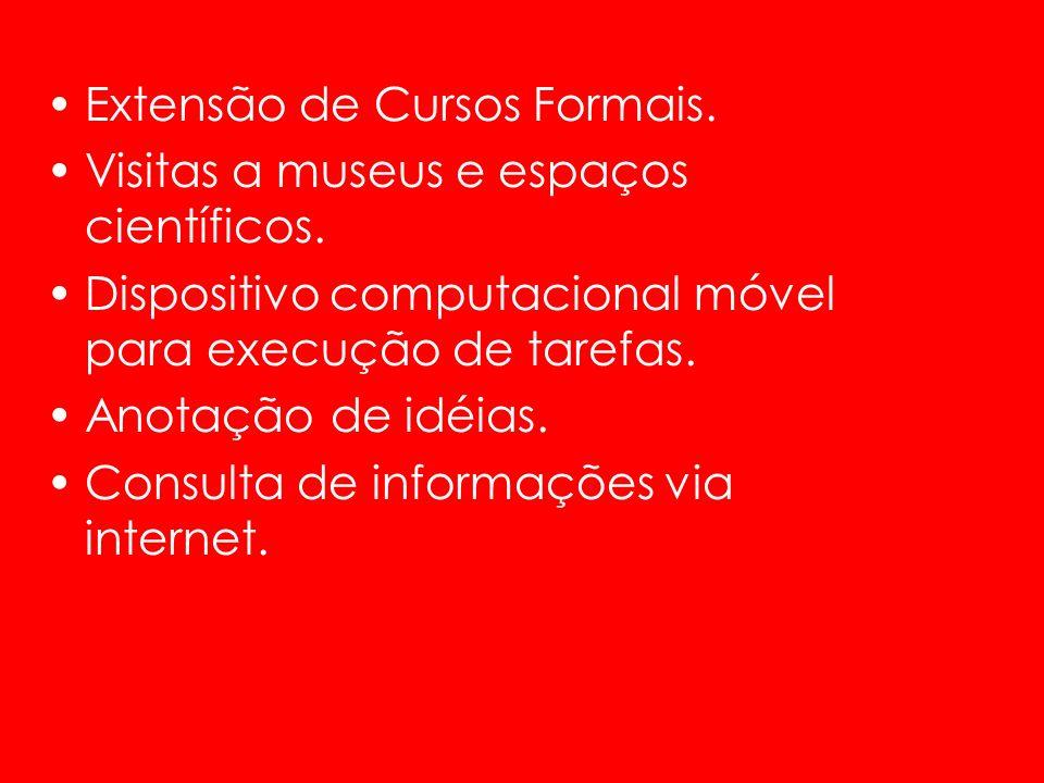 Extensão de Cursos Formais. Visitas a museus e espaços científicos. Dispositivo computacional móvel para execução de tarefas. Anotação de idéias. Cons