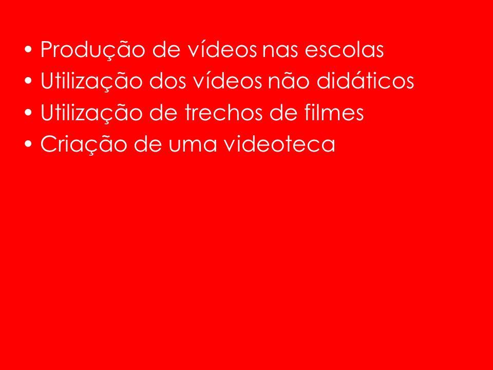 Produção de vídeos nas escolas Utilização dos vídeos não didáticos Utilização de trechos de filmes Criação de uma videoteca