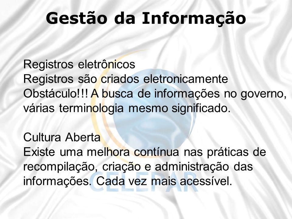 Registros eletrônicos Registros são criados eletronicamente Obstáculo!!! A busca de informações no governo, várias terminologia mesmo significado. Cul