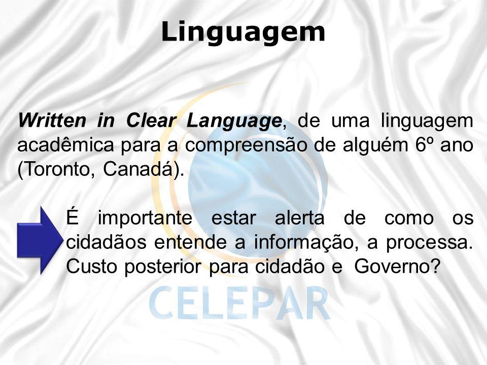 Written in Clear Language, de uma linguagem acadêmica para a compreensão de alguém 6º ano (Toronto, Canadá). É importante estar alerta de como os cida