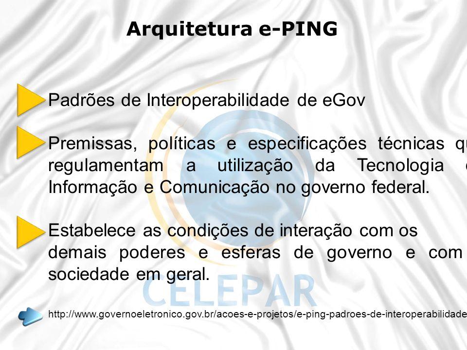 Padrões de Interoperabilidade de eGov Premissas, políticas e especificações técnicas que regulamentam a utilização da Tecnologia de Informação e Comun