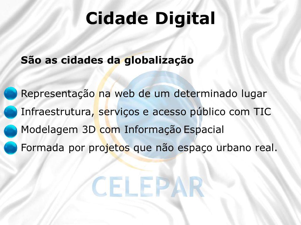 São as cidades da globalização Representação na web de um determinado lugar Infraestrutura, serviços e acesso público com TIC Modelagem 3D com Informa