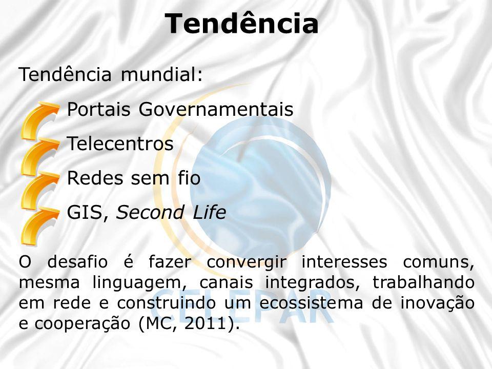 Tendência mundial: Portais Governamentais Telecentros Redes sem fio GIS, Second Life O desafio é fazer convergir interesses comuns, mesma linguagem, c