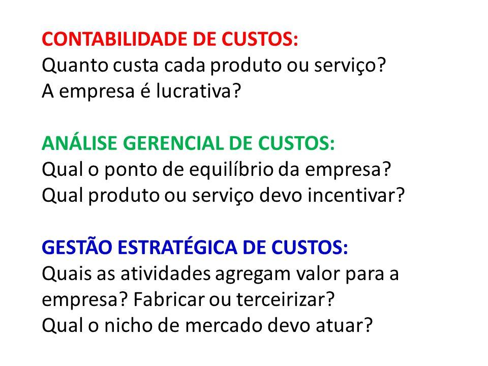 CONTABILIDADE DE CUSTOS: Quanto custa cada produto ou serviço.