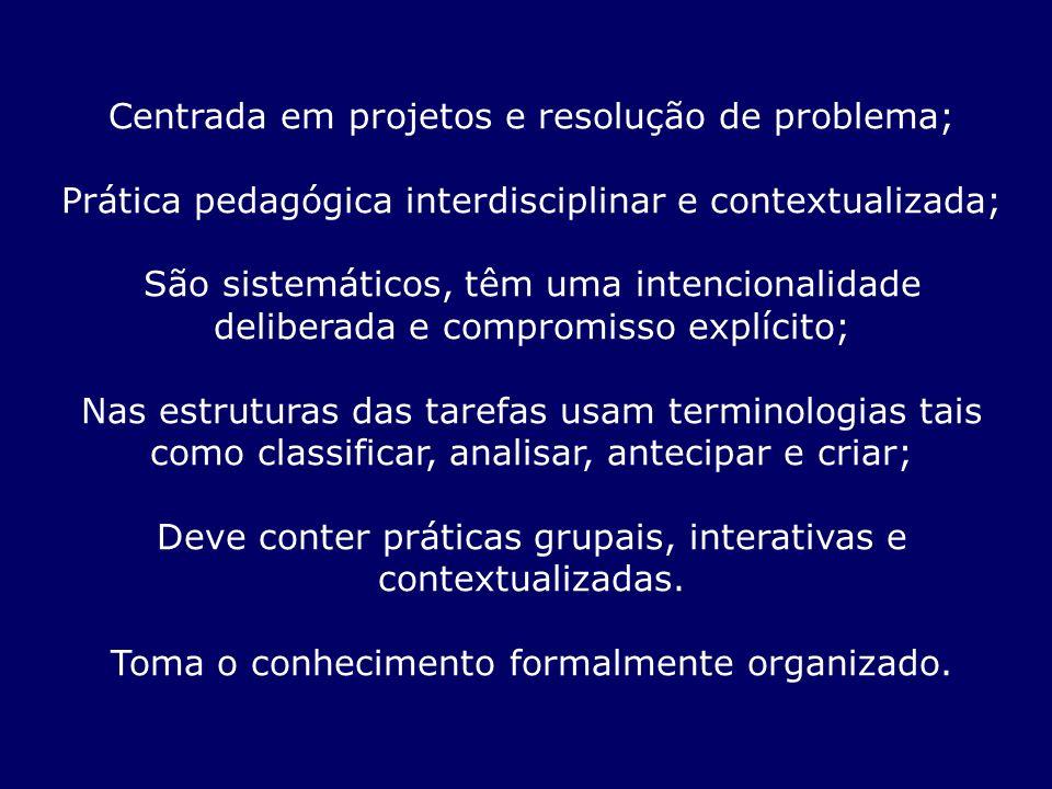 Centrada em projetos e resolução de problema; Prática pedagógica interdisciplinar e contextualizada; São sistemáticos, têm uma intencionalidade delibe