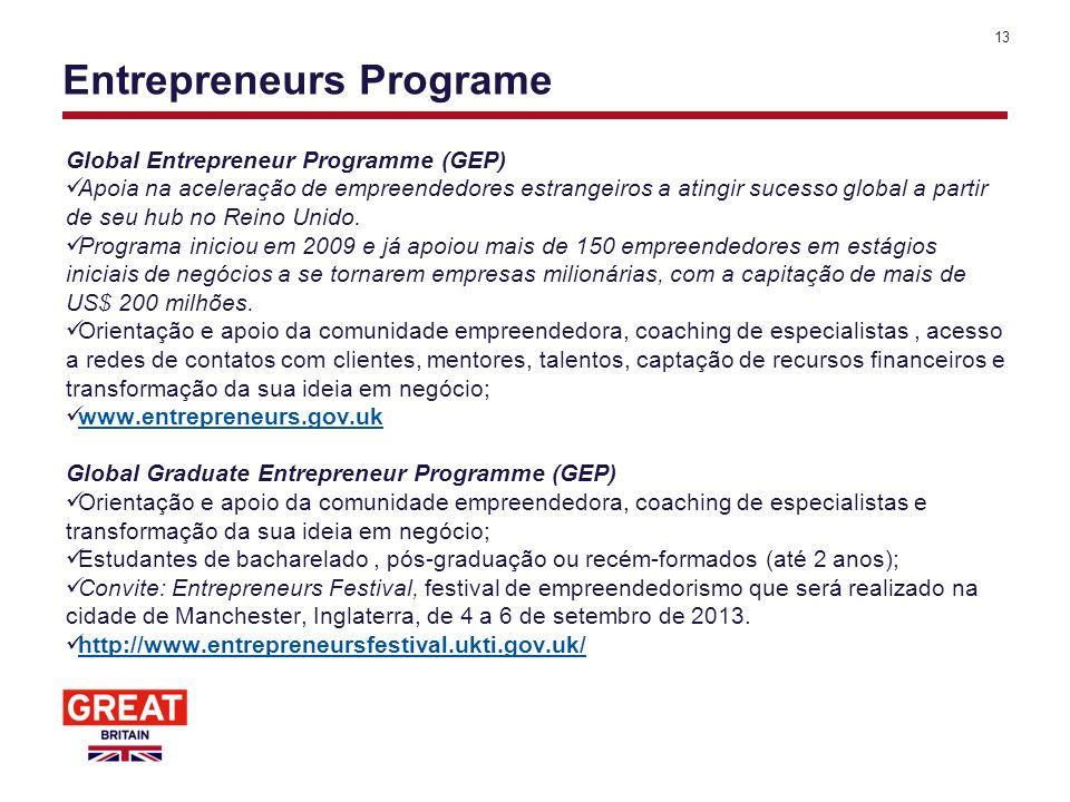 Entrepreneurs Programe Global Entrepreneur Programme (GEP) Apoia na aceleração de empreendedores estrangeiros a atingir sucesso global a partir de seu