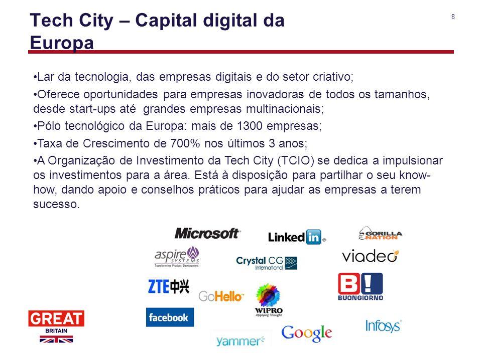 8 Tech City – Capital digital da Europa Lar da tecnologia, das empresas digitais e do setor criativo; Oferece oportunidades para empresas inovadoras d