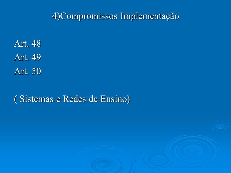 4)Compromissos Implementação Art. 48 Art. 49 Art. 50 ( Sistemas e Redes de Ensino)