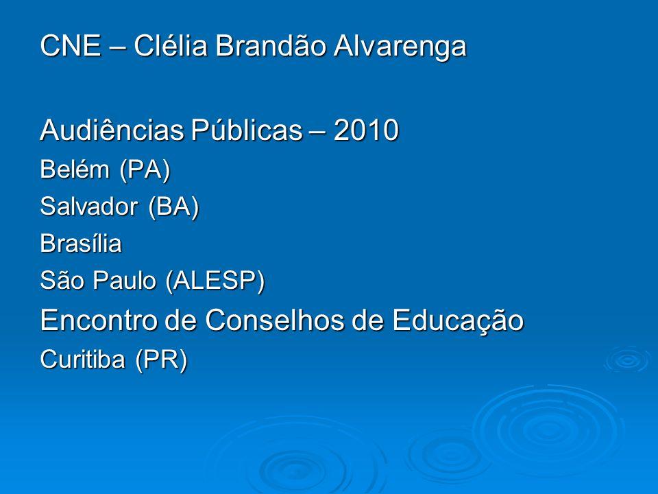 CNE – Clélia Brandão Alvarenga Audiências Públicas – 2010 Belém (PA) Salvador (BA) Brasília São Paulo (ALESP) Encontro de Conselhos de Educação Curiti