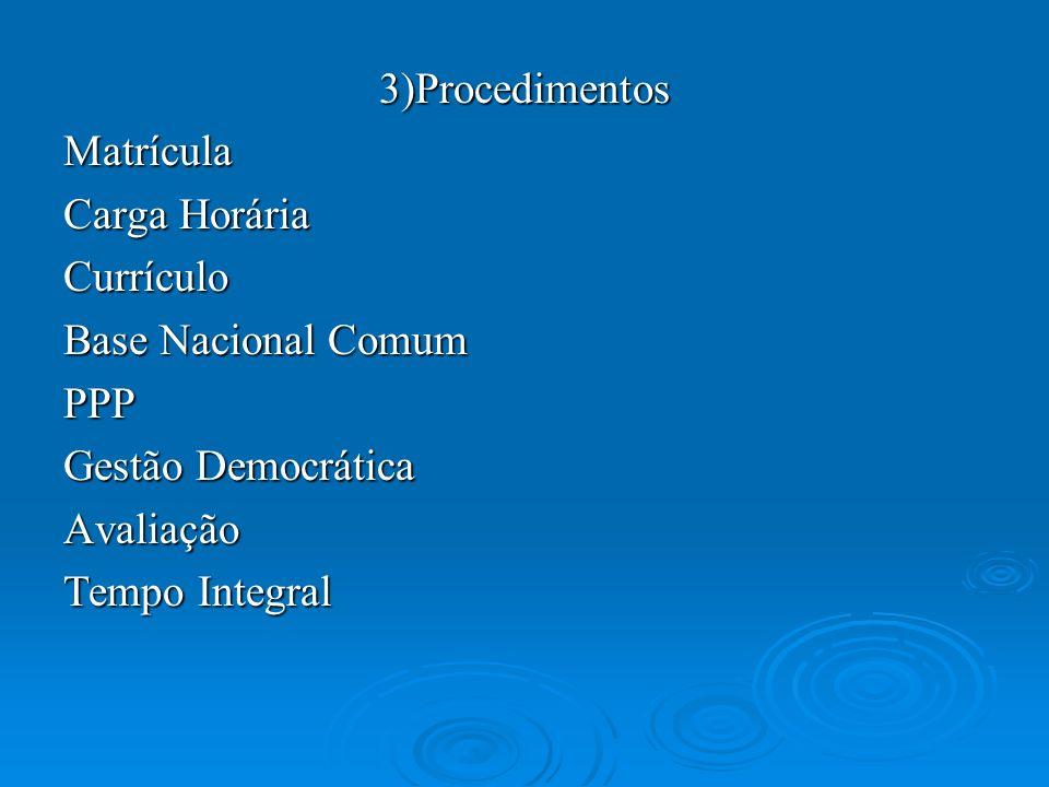 3)ProcedimentosMatrícula Carga Horária Currículo Base Nacional Comum PPP Gestão Democrática Avaliação Tempo Integral