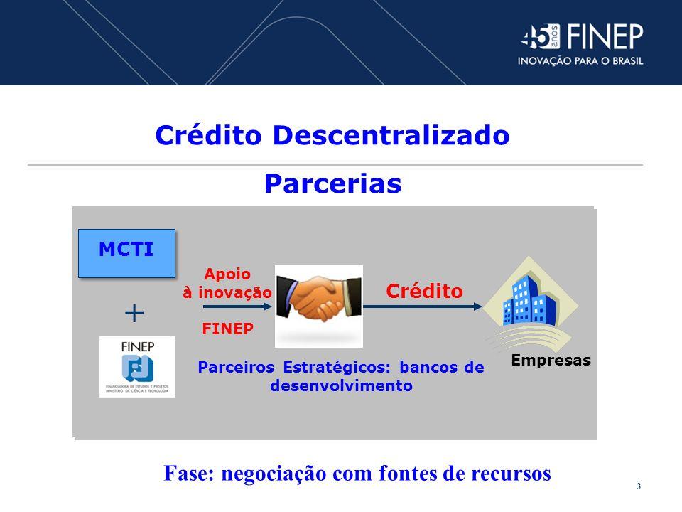 Crédito Descentralizado Parcerias Parceiros Estratégicos: bancos de desenvolvimento Empresas Crédito + MCTI Apoio à inovação FINEP 3 Fase: negociação com fontes de recursos