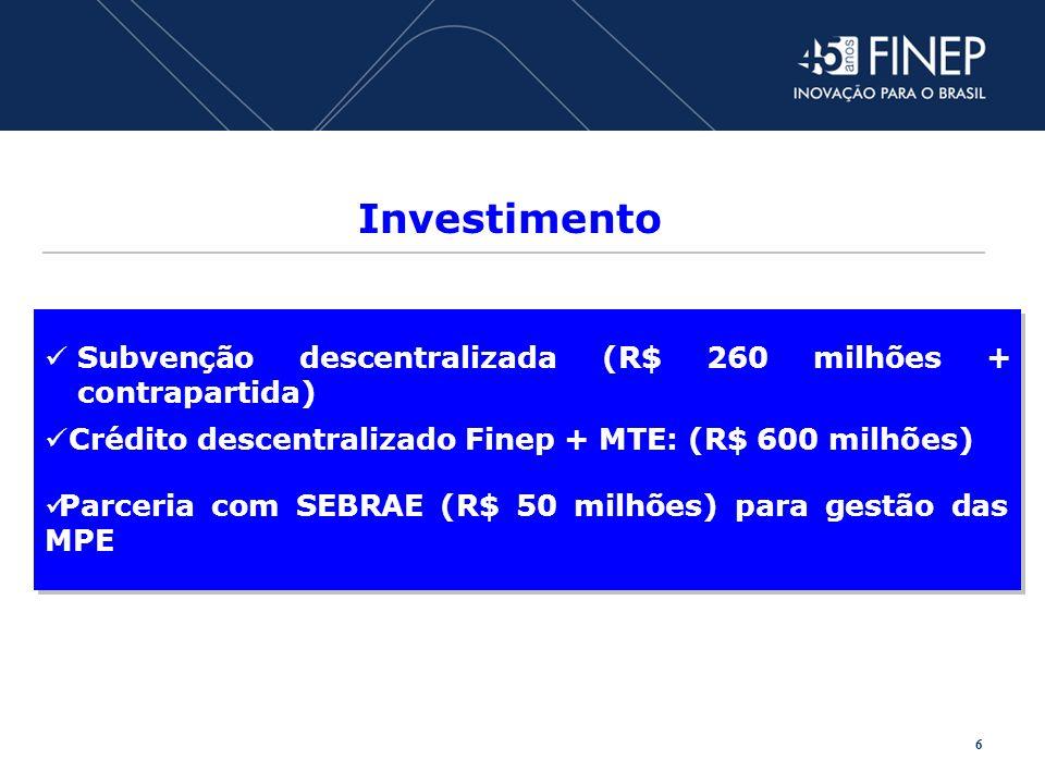 Investimento Crédito descentralizado Finep + MTE: (R$ 600 milhões) Subvenção descentralizada (R$ 260 milhões + contrapartida) Parceria com SEBRAE (R$ 50 milhões) para gestão das MPE 6