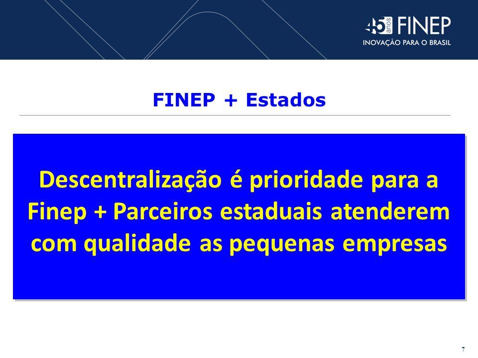 FINEP + Estados Descentralização é prioridade para a Finep + Parceiros estaduais atenderem com qualidade as pequenas empresas 7