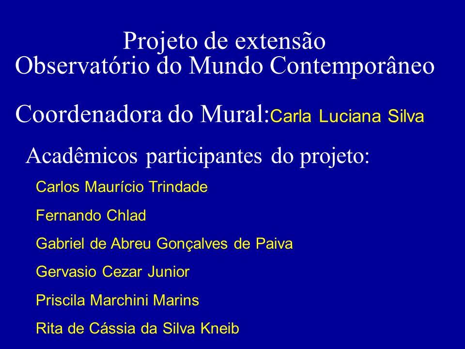 Projeto de extensão Observatório do Mundo Contemporâneo Coordenadora do Mural: Carla Luciana Silva Acadêmicos participantes do projeto: Carlos Mauríci
