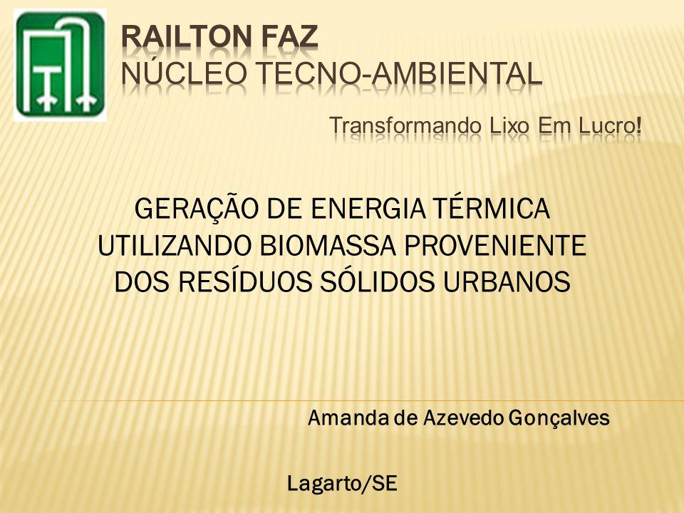 GERAÇÃO DE ENERGIA TÉRMICA UTILIZANDO BIOMASSA PROVENIENTE DOS RESÍDUOS SÓLIDOS URBANOS Amanda de Azevedo Gonçalves Lagarto/SE
