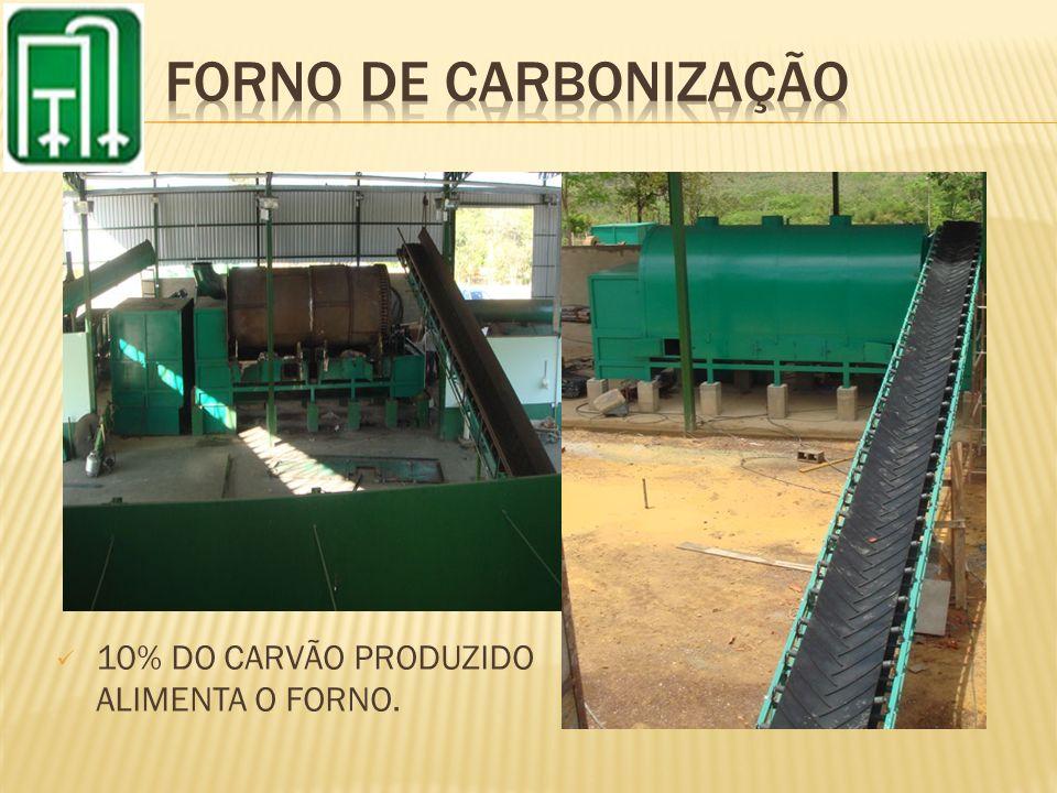 10% DO CARVÃO PRODUZIDO ALIMENTA O FORNO.
