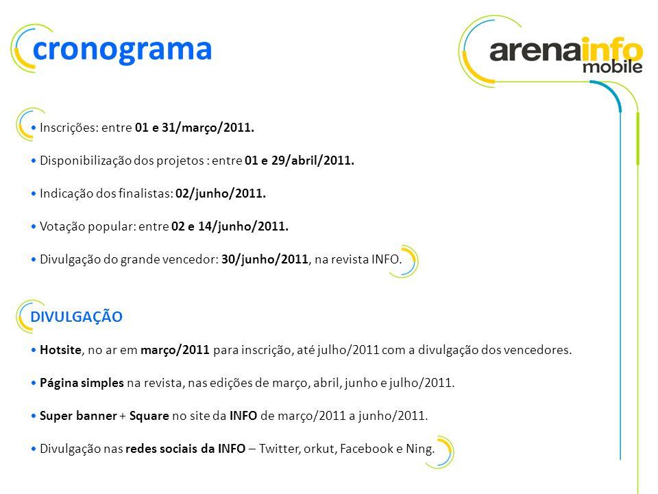 Inscrições: entre 01 e 31/março/2011. Disponibilização dos projetos : entre 01 e 29/abril/2011.