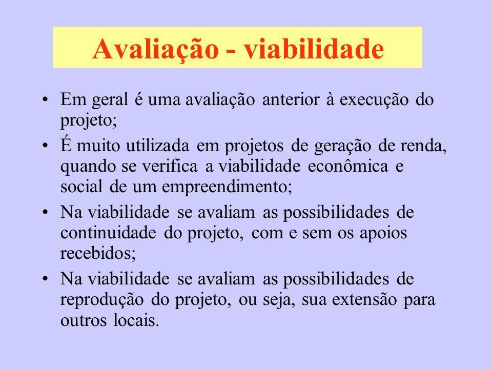 Avaliação - viabilidade Em geral é uma avaliação anterior à execução do projeto; É muito utilizada em projetos de geração de renda, quando se verifica