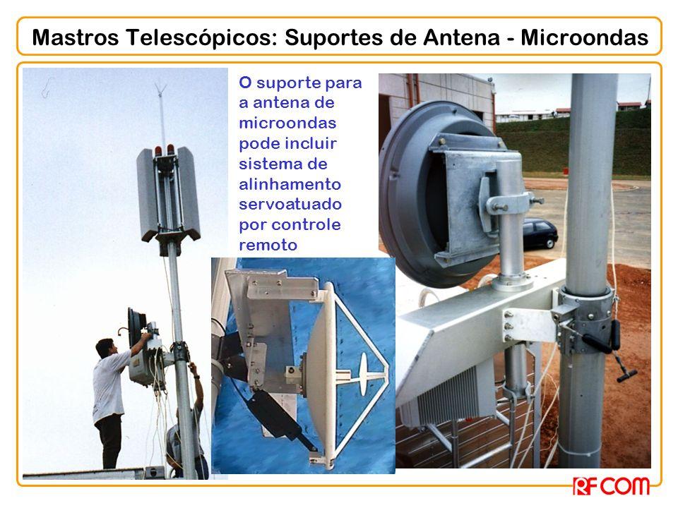 Mastros Telescópicos: Suportes de Antena - Microondas O suporte para a antena de microondas pode incluir sistema de alinhamento servoatuado por contro