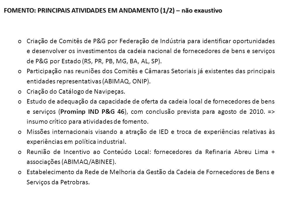 FOMENTO: PRINCIPAIS ATIVIDADES EM ANDAMENTO (1/2) – não exaustivo oCriação de Comitês de P&G por Federação de Indústria para identificar oportunidades
