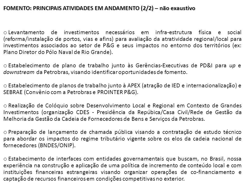 FOMENTO: PRINCIPAIS ATIVIDADES EM ANDAMENTO (2/2) – não exaustivo o Levantamento de investimentos necessários em infra-estrutura física e social (refo