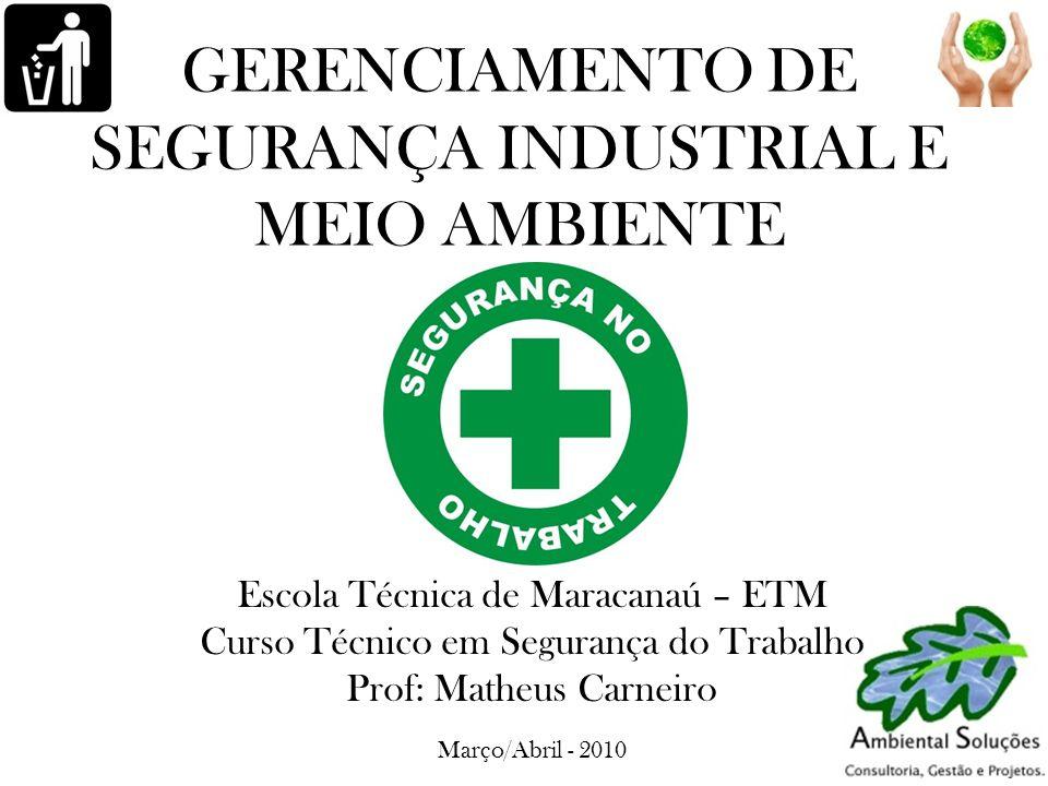 GERENCIAMENTO DE SEGURANÇA INDUSTRIAL E MEIO AMBIENTE Escola Técnica de Maracanaú – ETM Curso Técnico em Segurança do Trabalho Prof: Matheus Carneiro