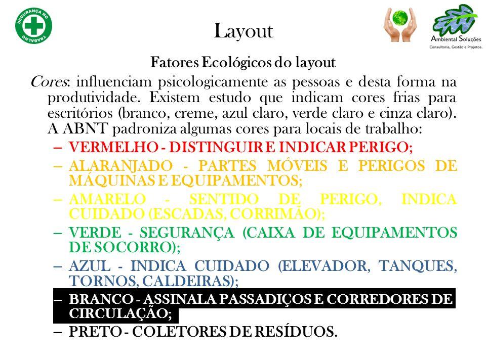 Fatores Ecológicos do layout Cores: influenciam psicologicamente as pessoas e desta forma na produtividade. Existem estudo que indicam cores frias par