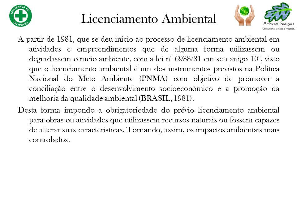 A partir de 1981, que se deu inicio ao processo de licenciamento ambiental em atividades e empreendimentos que de alguma forma utilizassem ou degradas