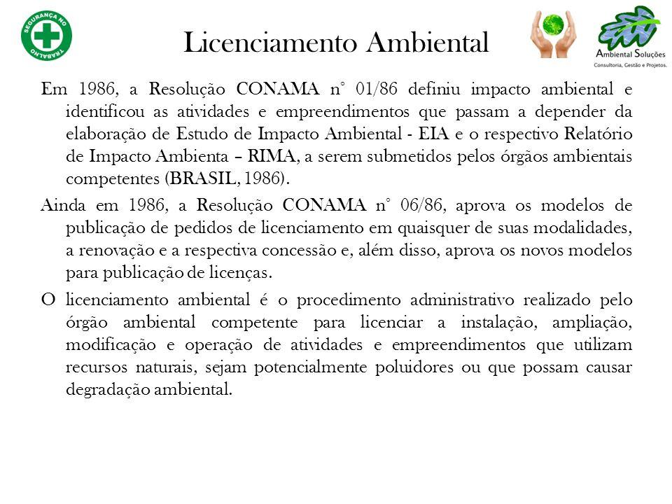 Em 1986, a Resolução CONAMA n° 01/86 definiu impacto ambiental e identificou as atividades e empreendimentos que passam a depender da elaboração de Es
