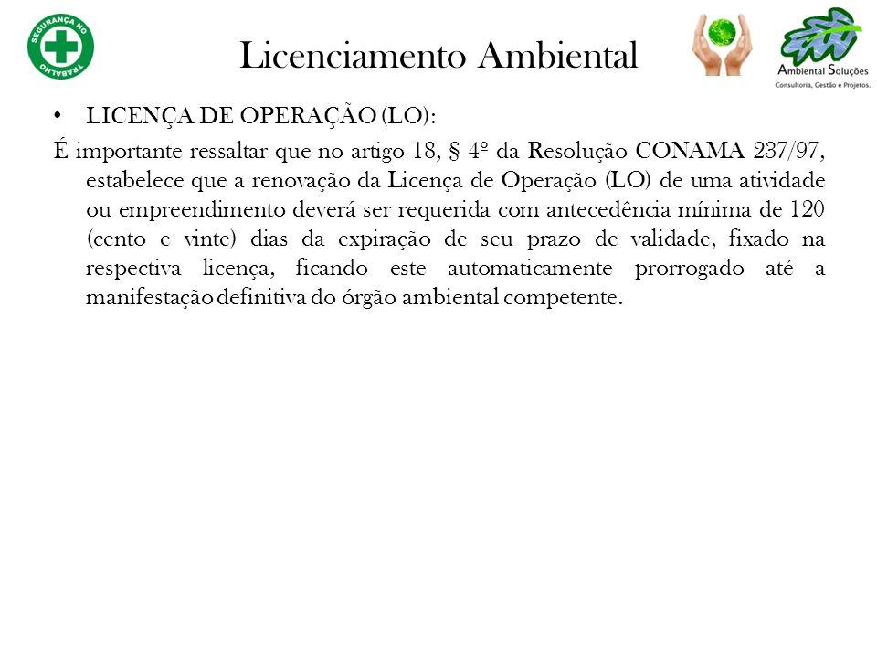 LICENÇA DE OPERAÇÃO (LO): É importante ressaltar que no artigo 18, § 4º da Resolução CONAMA 237/97, estabelece que a renovação da Licença de Operação