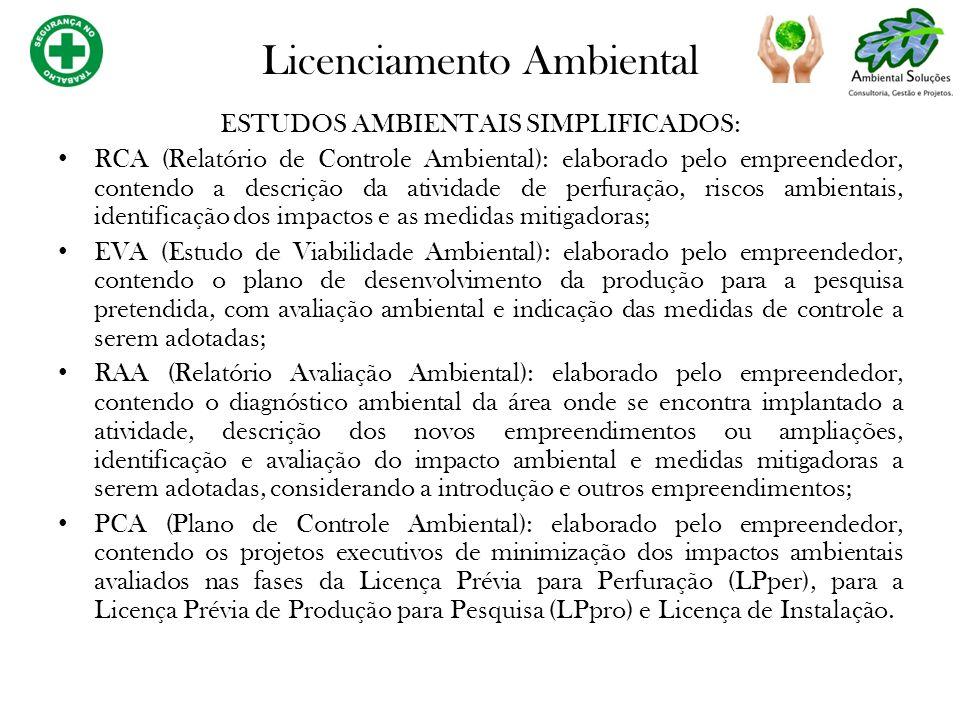ESTUDOS AMBIENTAIS SIMPLIFICADOS: RCA (Relatório de Controle Ambiental): elaborado pelo empreendedor, contendo a descrição da atividade de perfuração,