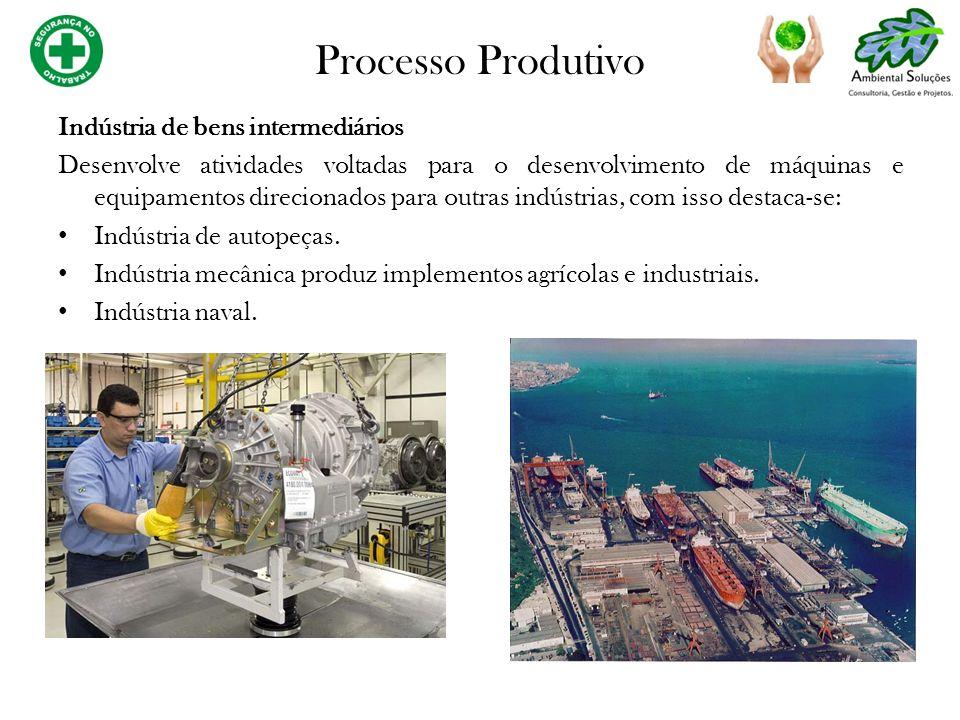 Processo Produtivo Indústria de bens de consumo Esse tipo de indústria divide sua atuação em: Indústria de bens de consumo duráveis: Indústria de automóveis.