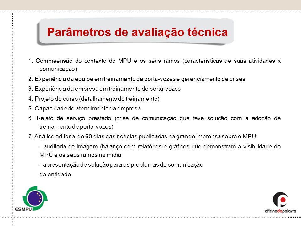 Parâmetros de avaliação técnica 1. Compreensão do contexto do MPU e os seus ramos (características de suas atividades x comunicação) 2. Experiência da