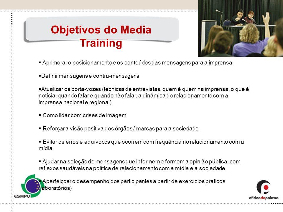 Aprimorar o posicionamento e os conteúdos das mensagens para a imprensa Definir mensagens e contra-mensagens Atualizar os porta-vozes (técnicas de ent