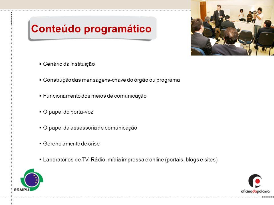 Cenário da instituição Construção das mensagens-chave do órgão ou programa Funcionamento dos meios de comunicação O papel do porta-voz O papel da asse