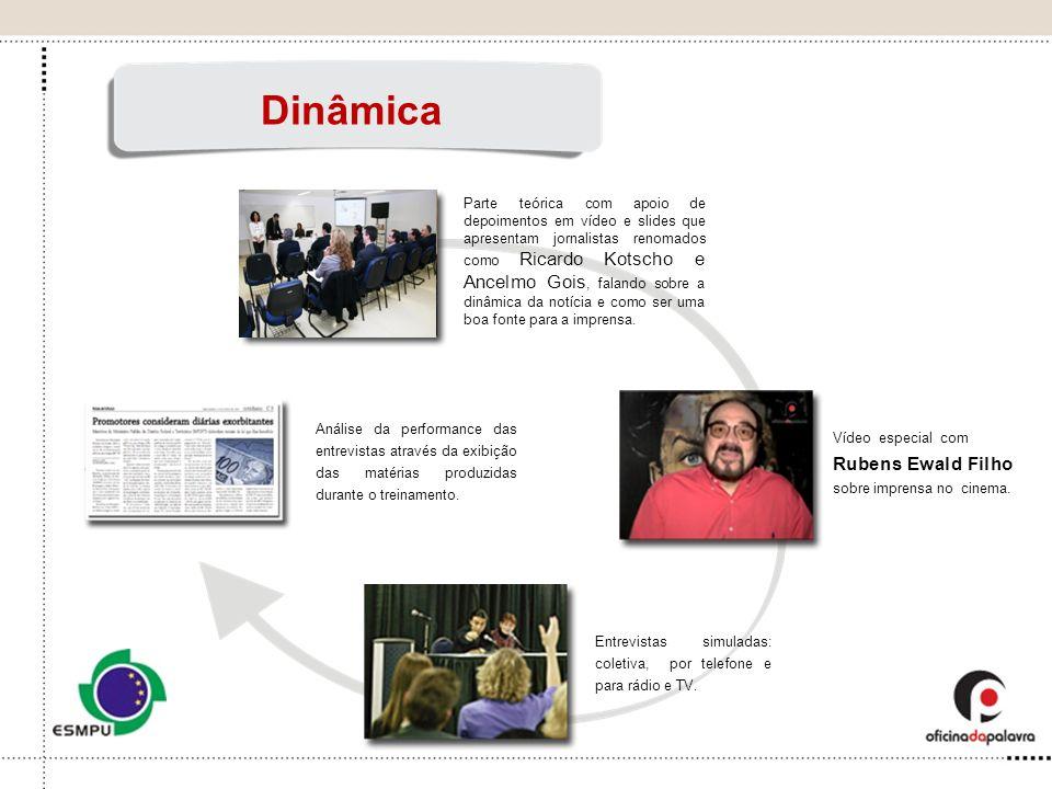 Parte teórica com apoio de depoimentos em vídeo e slides que apresentam jornalistas renomados como Ricardo Kotscho e Ancelmo Gois, falando sobre a din