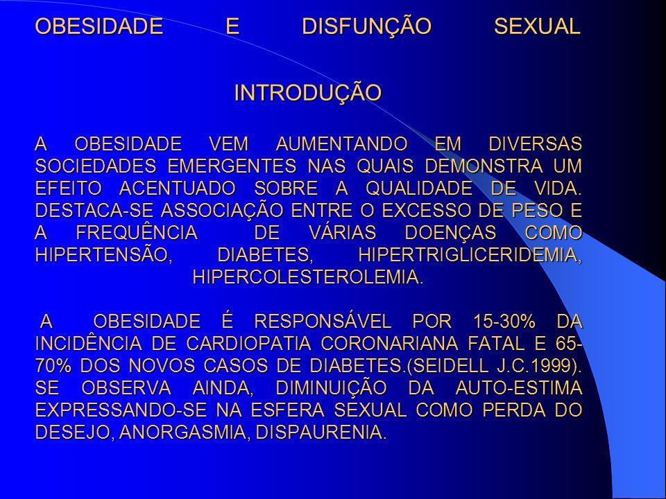 OBESIDADE E DISFUNÇÃO SEXUAL INTRODUÇÃO A OBESIDADE VEM AUMENTANDO EM DIVERSAS SOCIEDADES EMERGENTES NAS QUAIS DEMONSTRA UM EFEITO ACENTUADO SOBRE A Q