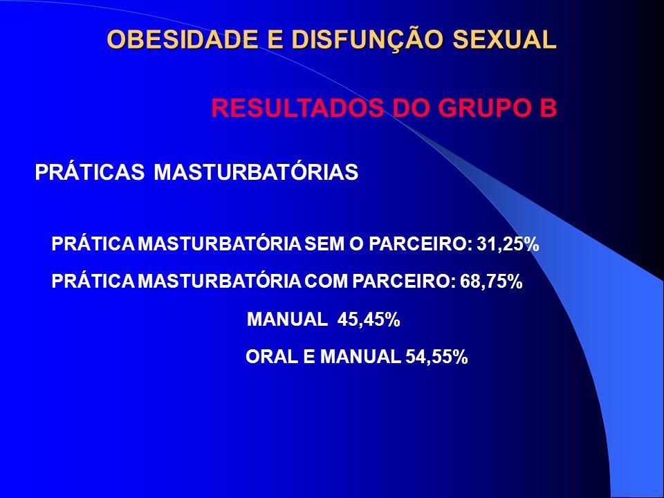OBESIDADE E DISFUNÇÃO SEXUAL RESULTADOS DO GRUPO B PRÁTICAS MASTURBATÓRIAS PRÁTICA MASTURBATÓRIA SEM O PARCEIRO: 31,25% PRÁTICA MASTURBATÓRIA COM PARC