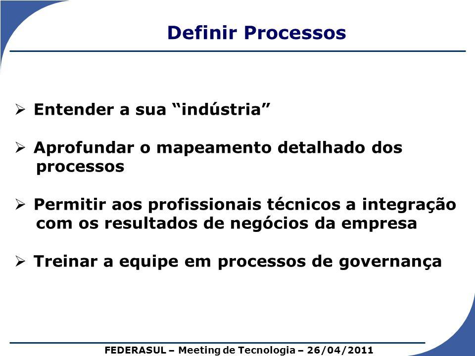 Definir Processos FEDERASUL – Meeting de Tecnologia – 26/04/2011 Entender a sua indústria Aprofundar o mapeamento detalhado dos processos Permitir aos