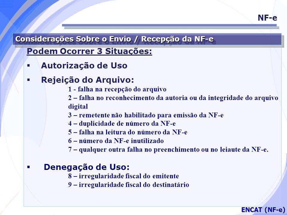 Secretaria da Fazenda ENCAT (NF-e) Considerações Sobre o Envio / Recepção da NF-e Podem Ocorrer 3 Situações: Autorização de Uso Rejeição do Arquivo: 1