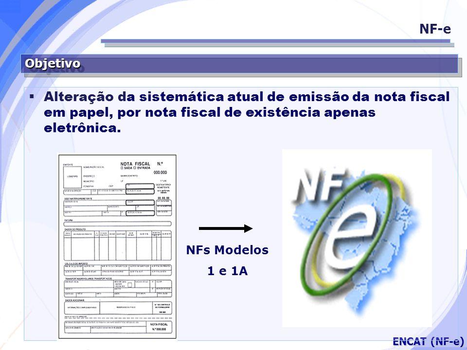 Secretaria da Fazenda ENCAT (NF-e) ObjetivoObjetivo NF-e Alteração da sistemática atual de emissão da nota fiscal em papel, por nota fiscal de existên
