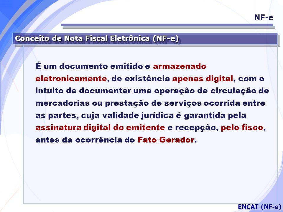 Secretaria da Fazenda ENCAT (NF-e) Respaldo Jurídico NF-e MP 2.200/01 (Artigo 10 – Parágrafo 1º.) As declarações constantes dos documentos em forma eletrônica produzidos com a utilização de processo de certificação disponibilizada pela Infra-estrutura de Chaves Públicas Brasileira (ICP-Brasil), presumem-se verdadeiros em relação aos signatários